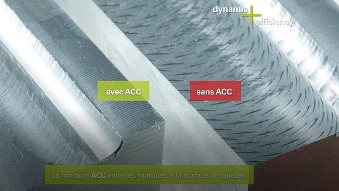 Option Dynamic Efficiency - Usinage avec et sans option ACC