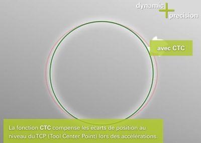 Option Dynamic Precision - Usinage d'un tenon circulaire avec la fonction CTC
